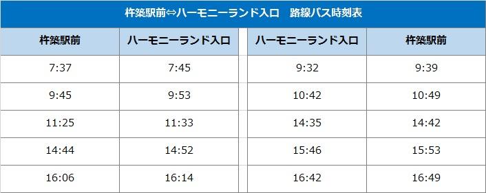 杵築駅前⇔ハーモニーランド入口 バス時刻表
